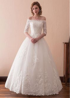 4ba6a6287 Wonderful Tulle Off-the-shoulder Neckline 3/4 Length Sleeves A-line Wedding  Dress With Lace Appliques,W2759