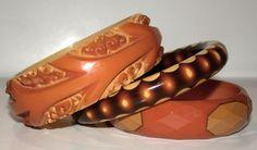 Butterscotch Cast Carved Bangle, 1-inch wide Brown/Cream Random Dot Bangle, 1/2-inch wide Faceted Belle Kogan 4-Dot, 3/4-inch wide