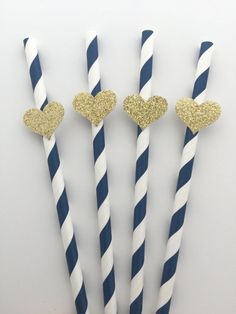 12 Blue Mix Paper Straws with Gold Glitter Heart. Baby Shower Bridal Shower Wedding Decor USD) by PaperTrailbyLauraB Blue Party Decorations, Wedding Table Decorations, Bridal Shower Decorations, Birthday Decorations, Heart Decorations, Wedding Decor, Gold Bridal Showers, Gold Baby Showers, Glitter Hearts
