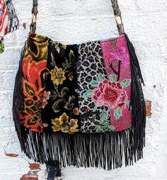 Beautiful floral velvet boho fringe bag