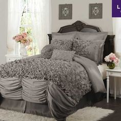 Lush Decor Lucia Gray Bedding By Lush Decor Bedding, Comforters, Comforter Sets, Duvets, Bedspreads, Quilts, Sheets, Pillows: The Home Decorating Company