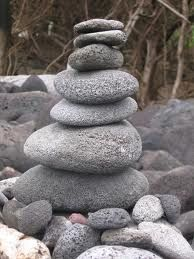 River rock cairn.