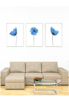 BLUE POPPY WALL art Instant Download Print three piece wall | Etsy