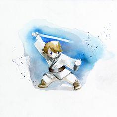 Blule - Little Rebel - Fight for Trush Obi Wan, Cultura Pop, Painting Techniques, Star Trek, Rebel, Original Paintings, Sci Fi, Kawaii, Watercolor