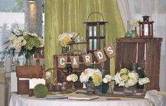 Gift table, Green & rustic theme made by www.fee-des-caraibes.com Face book:  Mariages À Saint Martin (Fée des Caraïbes)