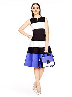 boasting a flattering, 50s-inspired shape, our corley dress is made modern by the colorblocked design; the alternating black-and-white bands, together with that wide swathe of royal blue at the bottom, render it completely contemporary. play up the effect by wearing it with a pair of surfer-inspired slip-on sneakers, or choose simple, sky-high heels for a slightly more timeless vibe.