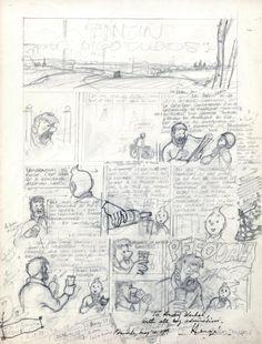 """Hergé #TINTIN « Tintin et les Picaros » (titre initial: """"Tintin et les Bigotudos""""). Exceptionnel crayonné de la première planche de l'album. Dédicacée à son ami Andy Warhol:"""" With all my admiration. Brussels, May the 29th"""". Hergé a donné cette planche originale crayonnée au pape du Pop Art qui venait de réaliser quatre portraits de lui, portraits qui sont aujourd'hui conservés au Musée Hergé. Vendu aux #encheres le 18/12/11 par Cornette de Saint Cyr"""