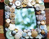 handmade recycled button mosaic mirror, vintage button art mirror