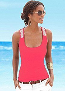 Amazon.com: KeyZone Tight Breathable Cool In Summer Sequins Casual Tank Tops T-Shirt Blouse M & Rose Red: Kitchen & Dining