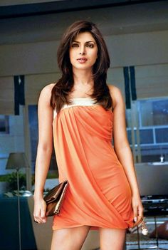 Priyanka Chopra orange dress, pretty, coral, summer, hair, celebrity, clutch, sexy