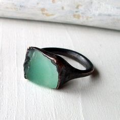 RESERVED Copper Chrysoprase Ring Emerald Pale by MidwestAlchemy, $65.50