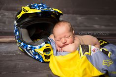 Motorcross racing themed Newborn Session. (could totally do this with Dave's suit & helmet) for baby girl or boy!
