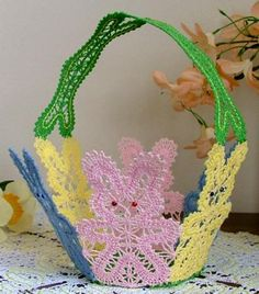 Advanced Embroidery Designs. FSL Battenberg Easter Bunny Lace Basket.