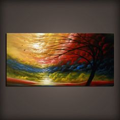 24 x 48 x 1 thick original painting on gallery wrapped (back stapled) stretched canvas. Title: Rainbow  All canvas sides will be painted black which