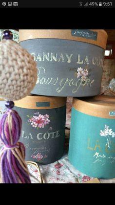 Vintage Box, Retro Vintage, Shabby Boxes, Hat Boxes, Fascinator, Diy And Crafts, Planter Pots, Scrap, Place Card Holders