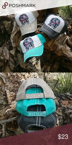 🆕WILD HEART Chief Cap Vintage distressed look velcro adjustable ball cap with an Indian Chief & Wild Heart printed on it.  Your choice of Tan,  Black,  Turquoise Boutique  Accessories Hats