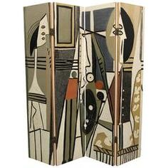 "Pablo Picasso Style ""Painter and Model"" Folding Four-Panel Room Divider Screen"