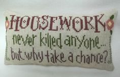 Housework  Mini Pillow / Cross Stitched Shelf by luvinstitchin4u
