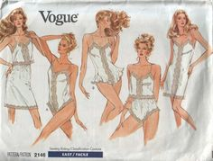 vogue 2146, vintage 80s lingerie pattern UNCUT, sizes large-extra large, bust 38-44 FREE SHIPPING  to canada and usa via Etsy