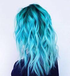 Pretty Hair Color, Ombre Hair Color, Hair Color For Black Hair, Hair Colors, Blue Ombre, Hair Lights, Light Blue Hair, Dyed Hair Blue, Hair Dye