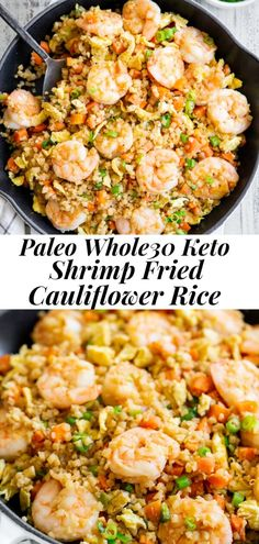 This shrimp fried cauliflower rice tastes just like the real thing (maybe better!) but it's healthier and easy to make at home! Paleo, and keto. Seafood Recipes, Diet Recipes, Cooking Recipes, Healthy Recipes, Easy Paleo Meals, Healthy Weeknight Meals, Paleo Meal Plan, Cooking Tips, Soup Recipes