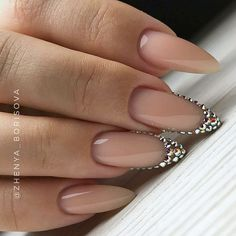 Almond shaped nails with cover pink and rhinestones french design. Perfect simple wedding nails. Beautiful nails by @zhenya__borisova  Ugly Duckling Nails page is dedicated to promoting quality, inspirational nails. Tag us and mention what Ugly Duckling products you used for a chance to be featured #nailartaddict #nailswa