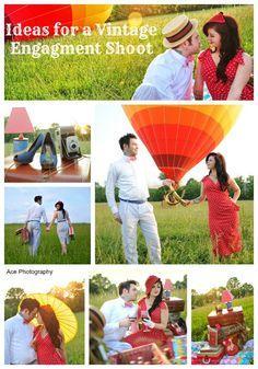 Ideas for a Vintage Engagement Shoot. Hot Air Balloon Engagement Shoot.
