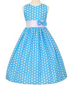 Turquoise & White Polka Dot Bow A-Line Dress - Toddler & Girls