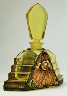 1930's Czech amber and tapestry perfume bottle.