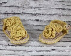 Baby Sandals Crochet Baby Girl Sandals Flower by TheYarnDolls