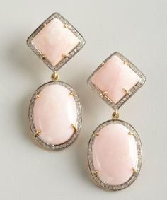 Vanhi pink opal and diamond oval stone drop earrings