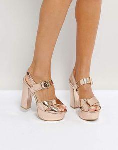 057661b5cd3f QUPID Qupid Platform High Shine Metallic Sandal - Rose Gold High Heels Rose  Gold High Heels