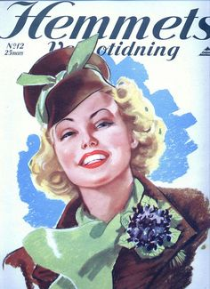 A cheerfully beautiful blonde gracing the cover of a 1930s Swedish magazine.