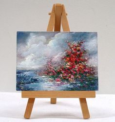 By The Ocean 3x4 original oil painting stand by valdasfineart