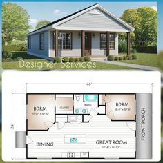 The Putnam, 960 Square Foot House Plan Guest House Plans, 2 Bedroom House Plans, Small House Floor Plans, Retirement House Plans, Guest Cottage Plans, Square House Plans, Small Modern House Plans, Pool House Plans, Metal House Plans