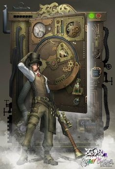 Kaha - Ludwig and Steam time Machine. This is definitely a 'Must Have' machine! Chat Steampunk, Steampunk Kunst, Steampunk Artwork, Style Steampunk, Steampunk Men, Steampunk Cosplay, Steampunk Fashion, Steampunk Images, Fantasy World