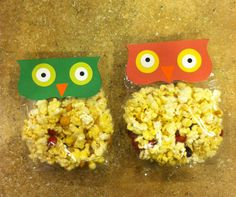 Owl party favors: love this- and she loves popcorn!