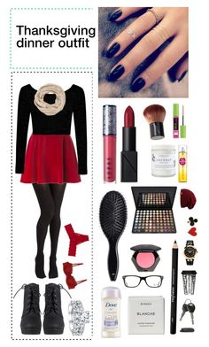 """Thanksgiving dinner outfit"" by daltonsprincess ❤ liked on Polyvore featuring H&M, NARS Cosmetics, LORAC, Lottie, Maybelline, Byredo, Versace, Dot & Bo, Ray-Ban and Cosabella"