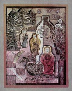 """Victor Shmokhin..""""Натюрморт с матрёшками""""  1978г.Бумага /цветная линогравюра.. 40х30"""