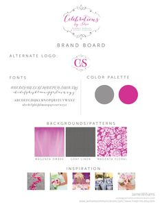 floral designer and event stylist logo and brand board design by jwilliamscommunications.com #logo #branding #graphicdesign #magenta #silver