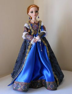 """Ellowyne Wilde Outfit, """"Waiting for Romeo"""" a Juliet inspired fashon. This Italian Renaissance ensemble Includes pantalets, underskirt, underdress with two-part detached sleeves, overdress, earrings, necklace, beaded hair ribbon. 