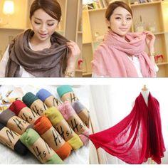 Ladies Women Fashion Pretty Long Soft Chiffon Scarf Wrap Shawl Stole Scarves #Soosia