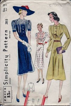 Vintage 30s Simplicity Dress Sewing Pattern 2813 Size 16/34
