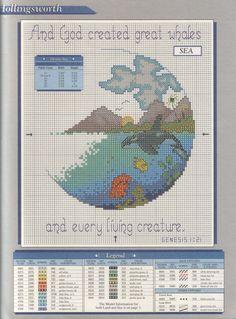 Ocean cross stitch, religious, orca killer whale