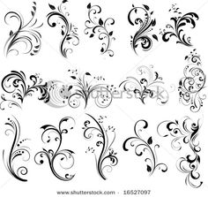 tatoos with swirl designs | Floral Silhouette, Element For Design, Vector Tattoo Photo | SpiderPic ...