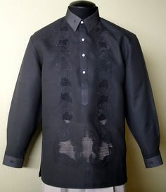 Barongsrus-Black Barong Tagalog You can not go wrong with the Black Tagalog Color: Black Traditional Straight Point collar, cuff buttons Traditional four-open button front Barong Tagalog Wedding, Barong Wedding, Wedding Gowns, Philippines Fashion, Philippines Culture, Filipino Wedding, Filipiniana Dress, Filipino Fashion, Smart Dress