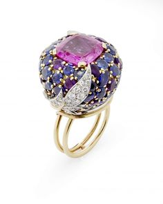 A Gold, Pink Sapphire, Diamond and Amethyst Bombé Ring, by Jean Schlumberger