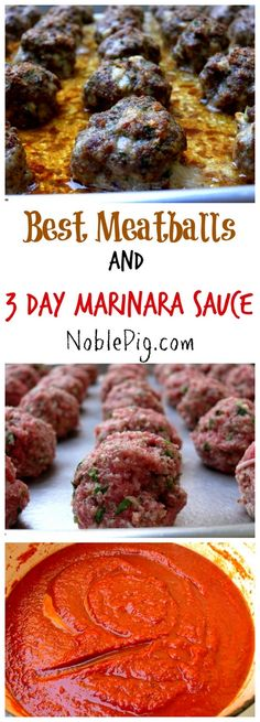 The Best Meatballs with 3 Day Marinara Sauce from NoblePig.com