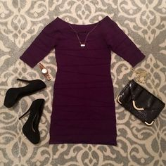 F21 // Purple Bodycon Dress This is a very pretty deep purple. It's a great color and style to pair with tights for going out on chilly nights. You can dress it up with some black pumps or keep it more casual with a pair of black boots!   ✅Reasonable offers welcome (through offer button) ✅Bundle discounts on 2+ items ✅Measurements provided on request ✅If there's a PM shipping promo tag the item you're interested in and I will gladly set up a new listing so you can get discounted shipping ❌No…