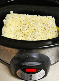 Crock Pot Potato Soup: 1 (30 oz.) bag frozen hash-brown potatoes (I use the squared, southern style)  2 (14 oz.) cans chicken broth  1 (10.75 oz.) can cream of chicken soup  Sprinkle in dried/minced onion & pepper  1 (8oz) package cream cheese (softened)  Garnish: chives, cheese, bacon - Mmmm!